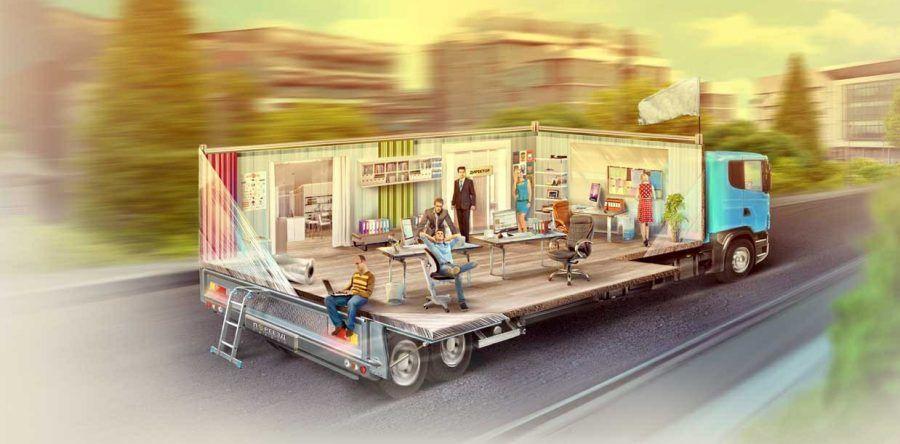Переезд офиса - грузовик везет мебель, технику, людей